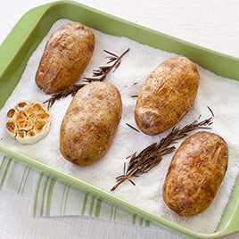 Salt-Baked Potatoes with Roasted Garlic and Rosemary Butter
