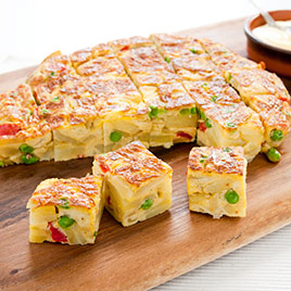 Spanish Tortilla with Roasted Red Peppers and Peas