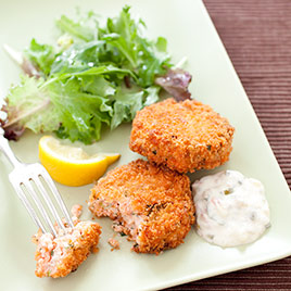 Easy Salmon Cakes with Smoked Salmon, Capers, and Dill