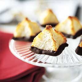 The Best Chocolate-Dipped Triple Coconut Macaroons