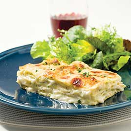 Four-Cheese Lasagna with Artichokes and Prosciutto