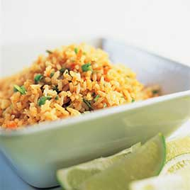 Mexican Rice with Charred Tomatoes, Chiles, and Onion